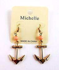 Anchor dangle earrings gold tone metal pink bead hook fasteners