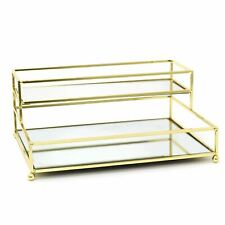 More details for gold effect 2 tier mirrored vanity tray | perfume jewellery cosmetic organiser