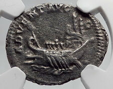 CARACALLA 202AD Galley Ship on Ancient Silver Roman Coin of Rome NGC i60192