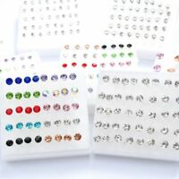 20Pairs Women Earring Set Crystal Ear Stud Plastic Earrings 2mm-5mm Mix Color