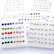 20Pairs Women Earring Set Crystal Ear Stud Plastic Earrings 2mm-5mm Mix Color