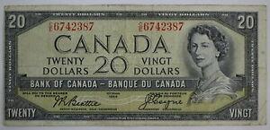 1954 BANK OF CANADA TWENTY DOLLARS C/E DEVILS FACE BC-33b BEATTIE COYNE NOTE