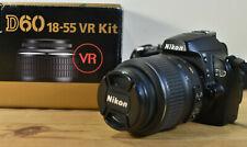NIKON D60 DSLR CAMERA KIT WITH NIKKOR LENS CHARGER BATTERY BOX MANUAL & 4GB SD
