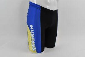 New Verge Mens Small Mustang Cycling Short Blue/Yellow Drawstring Waist Closeout