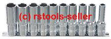 """KS Tools 1/4"""" CHROMEPLUS Conjunto De Tomas Hexagonales Largo 918.0610 Trinquetes"""