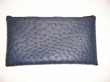 1 Brand New Premium Ostrich Pattern Navy Blue Leather Like Bank Deposit MoneyBag