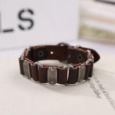 Fashion Mens Brown Leather Bracelet Wristband Punk Bangle Chain Charm Jewelry