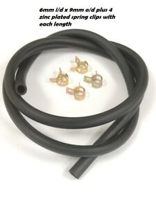 FLEXIBLE SOFT RUBBER TUBE - AIR / WATER FUEL PETROL OIL HOSE PIPE BLACK + CLIPS