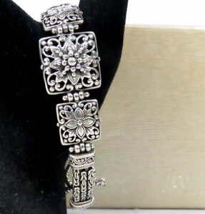 "Sarda 925 Sterling Silver Bracelet Bali Flower Design 6.75-8""  w/Byzantine Chain"