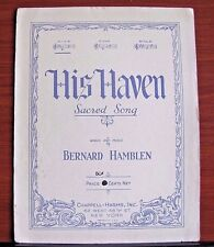 His Haven No 1 in E - by Hamblen - 1929 sheet music Sacred Song - Piano Vocal
