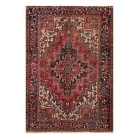 "6'4"" x 8'8"" Hand Knotted Herizz 100% Wool Traditional Oriental Area Rug Rust"
