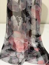 100% Mulberry Silk Chiffon Scarf / Wrap / Shawl ~ Soft Pink on Black & Grey