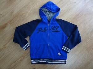 RALPH LAUREN POLO boys blue navy hooded zip thru jumper AGE 10 - 11 YEARS