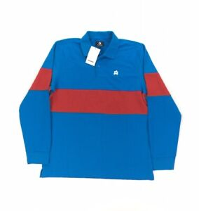 NEW Converse x Golf Le Fleur Tyler Creator Mens Long Sleeve Rugby Shirt Red Blue
