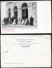 Postal ARCHENA. Murcia. Baños de Fortuna. Fachada del Casino y grupo de bañistas