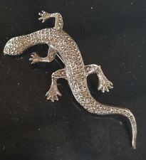 Vintage 1950's Large 7.5cm Sterling Silver Marcasite Lizard Brooch Pin 13 Grams