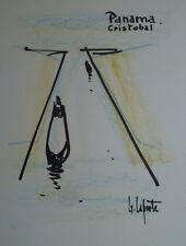 Georges LAPORTE (1926-2000) Technique mixte/papier Panama Cristobal P1815