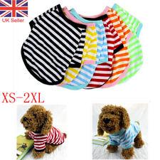 Dog Puppy Pet Clothes Striped Round Neck Warm Summer T-shirt Jumper Vest Coat UK