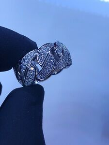 925 SILVER LAB DIAMOND BLING CUBAN LINK RING / HIP HOP / ICED OUT /