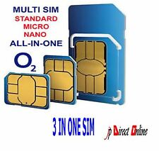 o2 Classic Pay As You Go Standard / Micro / Nano 3 in1 SIM CARD PAYG FREE p&p 02