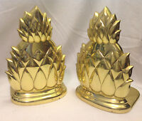 PINEAPPLE FIGURAL BOOKENDS BRASS VINTAGE PAIR HEAVY GC