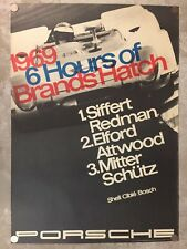 1969 Porsche 908/2 Spyder Brands Hatch Victory Showroom Advertising Poster RARE