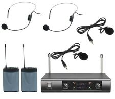 UHF Dual Wireless Microphone System 2 Headset 2 Lavalier Lapel Mike Microphone