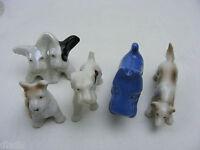 Vintage 1950's 60's Japan Porcelain 5 Dogs 4 Scotties 1 Bird Dog