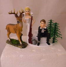 Wedding Reception Party Deer Hunter Ball & Chain Bride with Key Cake Topper