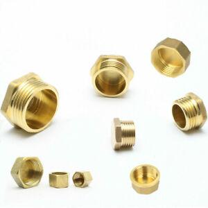 "1/2"" 3/4"" 1"" Thread Brass Pipe Screw Hex Blanking Plug Stop End Cap Male /Female"