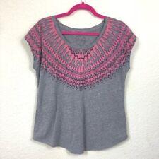 Lucky Brand Gray Pink Tribal Patterned Tee T-Shirt Blouse Women's Medium