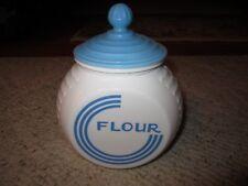 Vintage Anchor Hocking Blue Circle Vitrock Flour Jar W/Lid Rare!!!