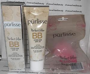 Purlisse Perfect Glow SPF 30 BB Cream LIGHT Full Size, Blending Sponge & CC Mini