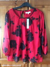 Debenhams Red And Black Blouse Party Christmas Size 10 BNWT