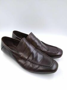 Via Spiga Studio Turit Mens Brown Leather Casual Loafers Dress Shoes Size 11D