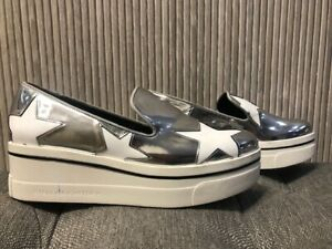 Authentic STELLA MCCARTNEY  Star Silver Leather Platform Sneakers Shoes Size 37