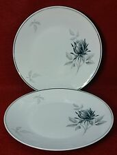 ROSENTHAL china 3489 Black Gray Rose Salad Plate - Set of Two (2) - 7-5/8""