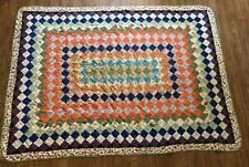 Trip around the world Twin size vintage handmade quilt 65 x 85