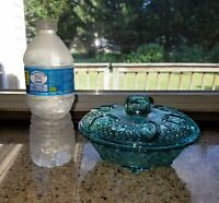 Green Glass Covered Candy Dish