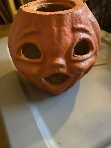Antique Halloween Paper Mache Jack O Lantern Pumpkin 7 Inch