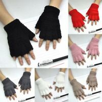 Women Men Gloves Fingerless Fleece Half-Fingers Fuzzy Warm Winter Wool