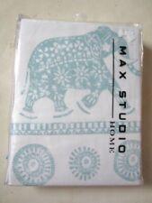 Max Studio Home Boho ELEPHANT  Print White Teal FABRIC SHOWER CURTAIN New