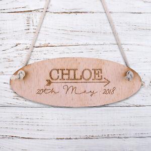 Personalised Wooden Door Garden Signs Kids Hanging Plaques Custom Name Date