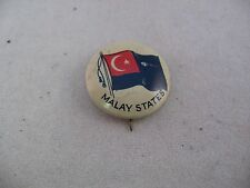 Interesting Antique Vintage COUNTRY FLAG Pin Pinback: MALAY STATES FLAG