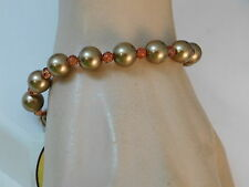 Talbots Bronze Gold Faux Pearl Topaz Rhinestone Bead Stretch Bracelet 8a 44