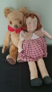 Vintage Chad Valley Mohair Bear and his childhood friend Lucy
