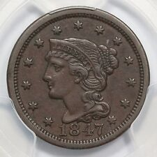 1847 N-12 R-3 PCGS XF 45 Braided Hair Large Cent Coin 1c