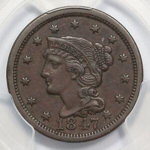 1847 N-12 R-3 PCGS XF 45 Braided Hair Large Cent Coin 1c