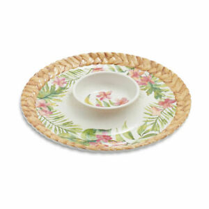 """Tropical Palms Florals 15"""" Melamine Serving Tray Chip and Dip Platter"""