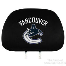 Vancouver Canucks PRO 2-pack Black Velour Auto Head Rest Covers NHL Hockey